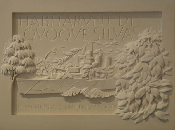 Habiturant Di Quoque Silvas 2000 with Peter Coates, limestone plaque 41.8 x 55.7 x 12cm