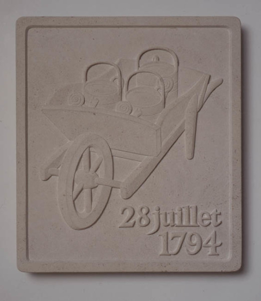 28 Juillet, 1794 1992 with John Andrew, Portland Limestone wall relief 46 x 41 x 5 cm