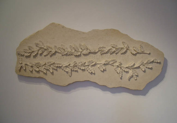 We Worship Groves and Their Very Silences 2000 with Martin Cook, limestone plaque 64.5 x 135 x 65cm