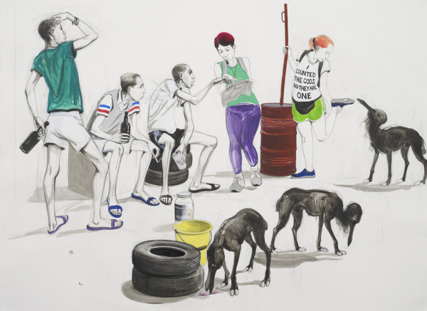 Untitled (Tourists talking to Itinerants), 2015 Pencil, acrylic and ink on paper, mounted on linen 84 x 114 cm page size 96.5 x 126.5 cm framed