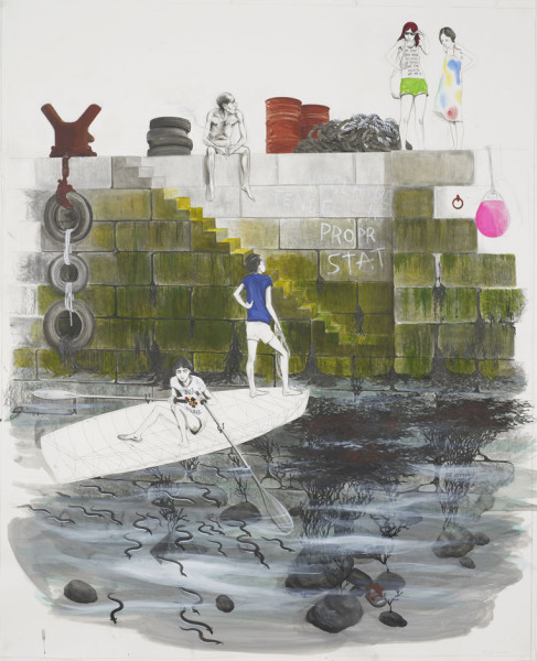 Untitled (Two Guys in Boat Approaching Quayside) 2015 pencil, acrylic and ink on paper 139 x 113 cm (page size)