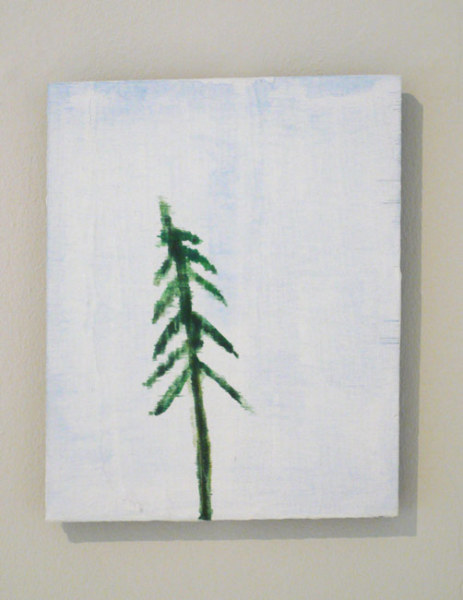 Fir Tree 2003 watercolour and emulsion on found board 24.5 x 20.5cm