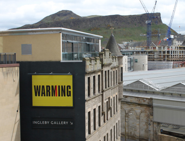 View of Kay Rosen's Billboard for Edinburgh installation This Means War...