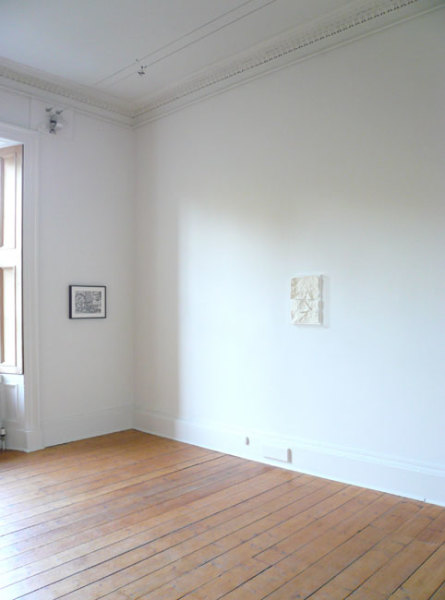 (left) Drawing4ashowwithRArtschwager, (right) Love:Horizon 2007 pencil on paper; resin and paint, painted mdf, acrylic case