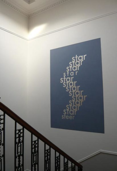 Star / Steer 1966 - 2007 unique wall painting, silver leaf on grey, with Les Edge 200 x 156 cm