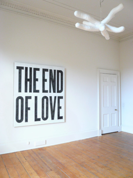 (left) The End of Love, (right) Untitled (Star) 2008 oil on flax canvas, 168 x 153 cm, 100 x 100 cm