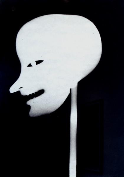 Untitled (Head) 2008 spray paint on cardboard 34 x 24 cm