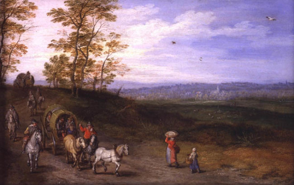 Landscape with Travellers c. 1610 oil on copper