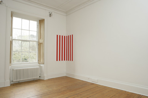 Installation at Ingleby Gallery, 2008 paint and vinyl on wall 75 x 75 cm