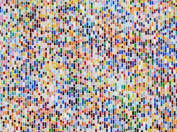 Detail: Binary Rhythm (V) 2012-13 oil and wax on wood 189.5 x 169 cm