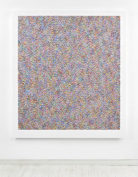 Binary Rhythm (IX) 2015 oil and wax on wood 189.5 x 169 cm