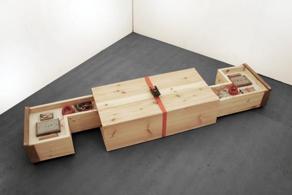 The Sheltering Sky 2014 unique sculpture pine, oak, walnut, maple ply, circuit components 21 x 39 x 75.7 cm