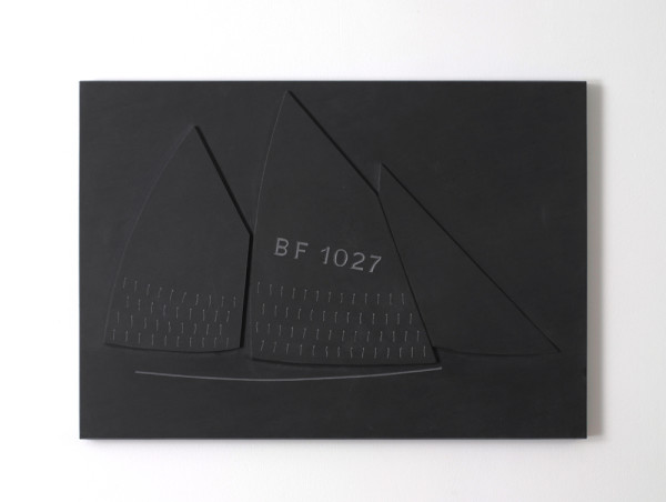 Sails BF 1027 1998 with Andrew Whittle, slate 44 x 54 x 2.5cm