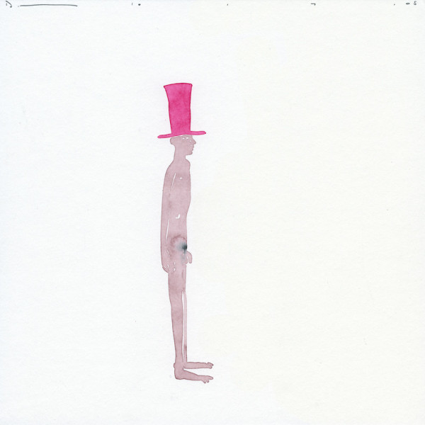 Untitled (Pink Top Hat) 10.7.05 watercolour and pencil on paper 25 x 25 cm paper size