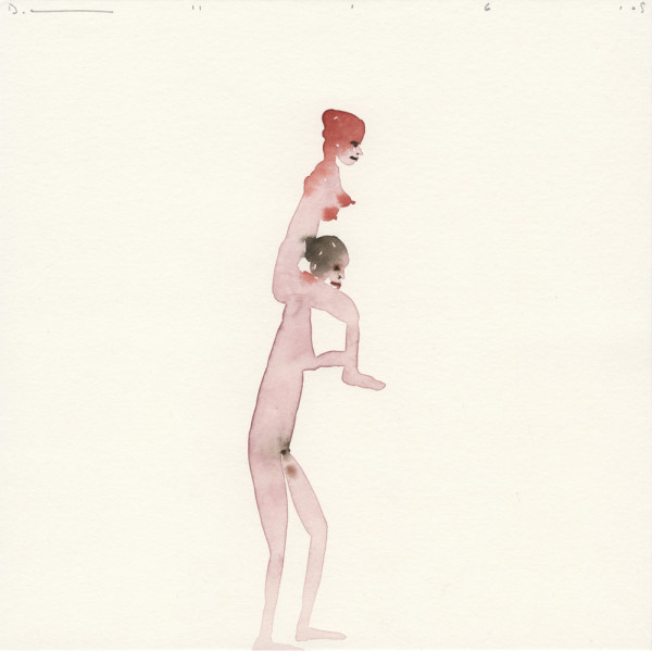 Untitled (Woman on Man's Shoulders) 11.6.05 watercolour and pencil on paper 25 x 25 cm paper size