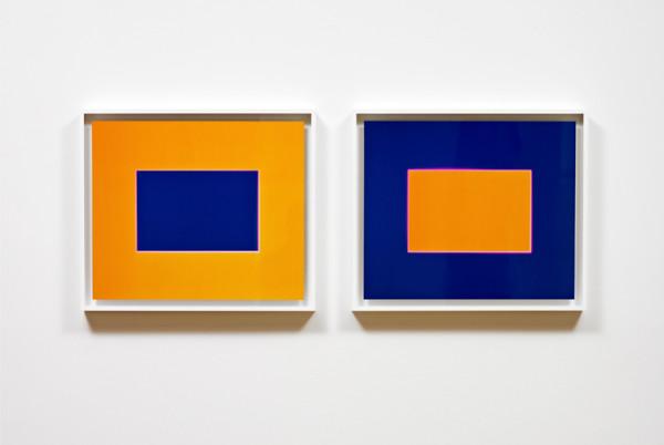 Purple. Blue. Orange. Summer 2008 two unique light, oil, dye destruction prints 55.9 x 65.5 cm framed (each)