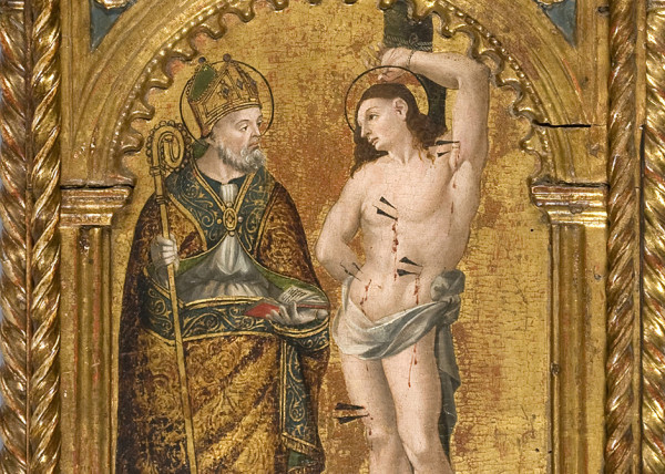 detail of gilt altarpiece depicting Saint Sebastian 15th century 95 x 45 x 8 cm private collection