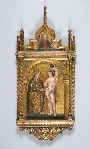 gilt altarpiece depicting Saint Sebastian 15th century 95 x 45 x 8 cm private collection