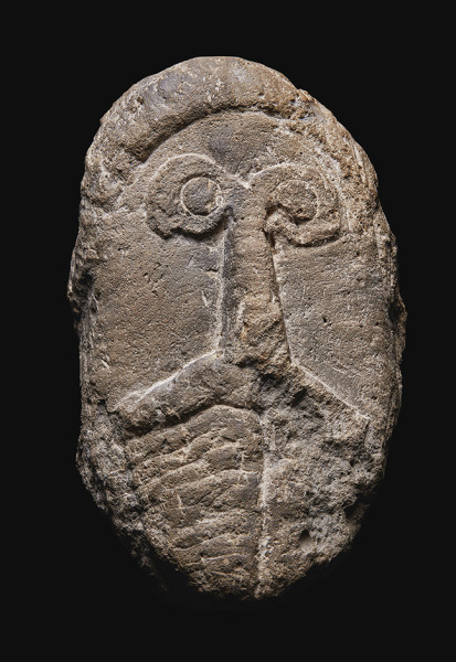 A Celtic Limestone Head of a Man circa 1st Century A.D Stone 32 x 19 cm private collection