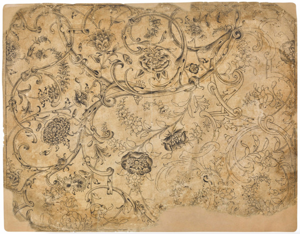 Floral Arabesque, c. 1650-1680, Deccan or Mughal brush drawing on paper 33.5 x 42 cm private collection