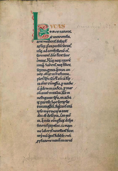 The Glossed Luke with the Letter A, c. 1120 decorated bound manuscript private collection