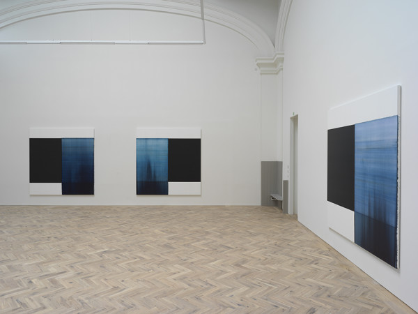 Installation view of Callum Innes' solo exhibition Byzantine Blue, Delft Blue, Paris Blue, 2018 Ingleby Gallery, Edinburgh, 11 May - 14 July