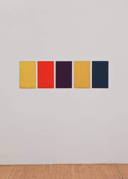 Quintet 2010 tempera on 5 slate tiles 50.8 x 30.5 cm each; 50.8 x 162.6 cm overall
