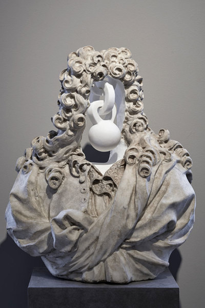 Jonathan Owen Untitled, 2018 17th century marble bust with further carving 77 x 63 x 35 cm