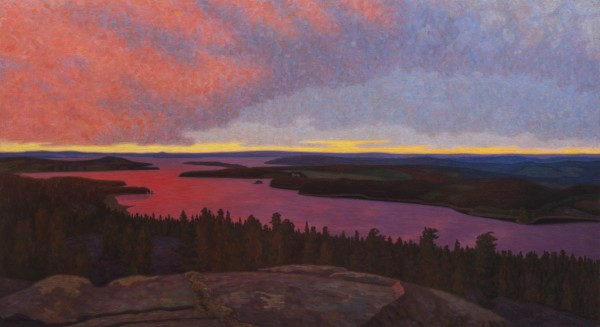 Hilding Werner Landscape at twilight near Glafsfjorden - Värmland