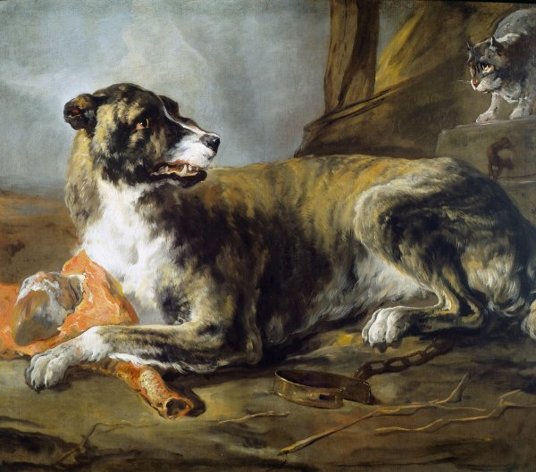 Jan Baptist Weenix, Hound with a Joint of Meat and a Cat looking on