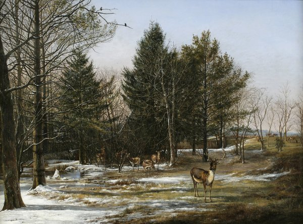 Pieter Gerardus van Os, A Wooded Winter Landscape with Deer, 1817