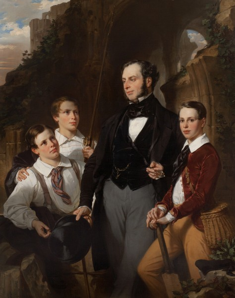 Eugène-François-Marie-Joseph Devéria, Portrait of Laurence Davidson and His Three Sons, 1850