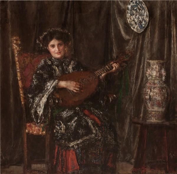 Antonio Mancini, Suonatrice di mandola, o Il costume giapponsese, 1910