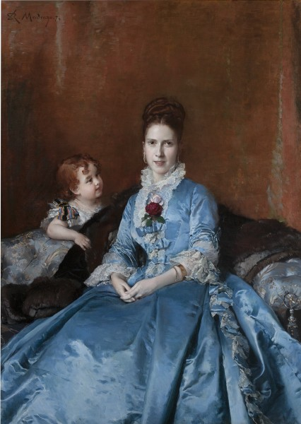 Raimundo de Madrazo y Garreta, Portrait of Mrs. Clotilde de Cándamo and her Son Carlos, 1874