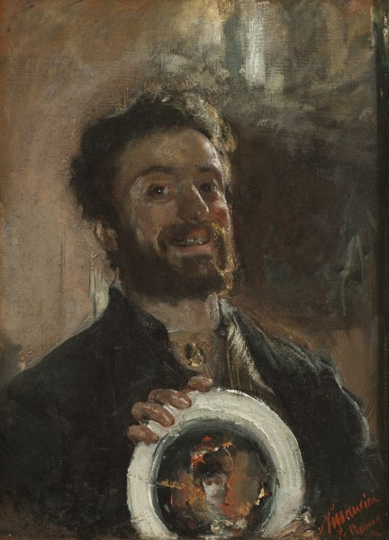 Antonio Mancini, Self Portrait with Plate