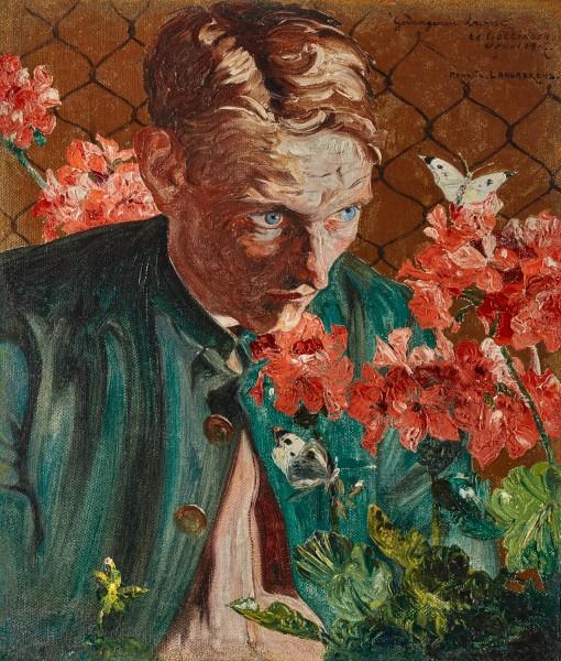 "Maurice Langaskens, ""Gevangenen troost"" (Prisoner's Comfort): Self-Portrait of the Artist Observing a Butterfly, 1917"