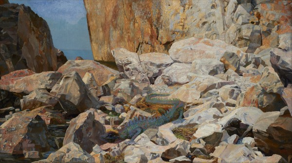 Karl Mediz, Dragon on a Rocky Shore , 1891