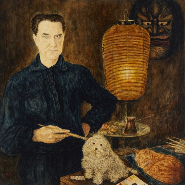Erwin Dominik Osen, Self Portrait with Dog and Cat, circa 1936