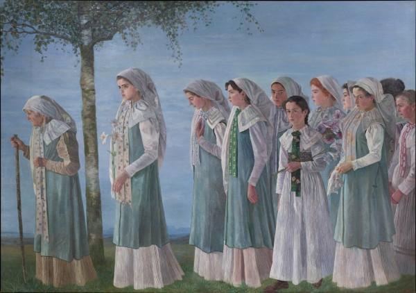 Karl Mediz, Sunday Procession of Gottscheer Women, 1897