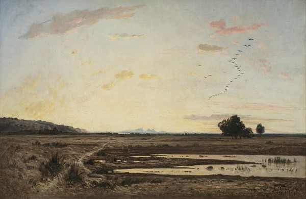 Paul Guigou, La plaine de la Crau, effet de crépuscale (Provence) (The Plain of La Crau, Twilight Effect (Provence) , 1870