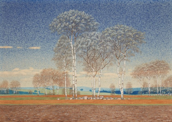 Oskar Bergman, Flowering Birch Trees, 1918