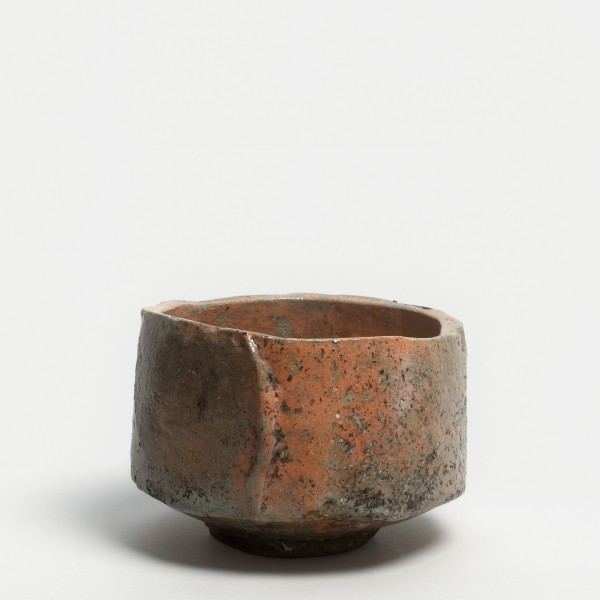 Kei Tanimoto, #0201637 Painted red raku tea bowl (iga aka-raku tetsue chawan), Iga-type, 2013