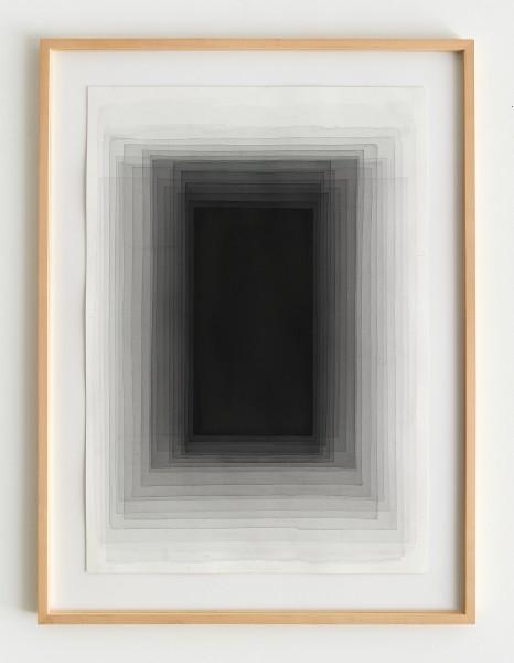 Joachim Bandau #021911 o.T., 19.11.2015 / EG 2, 2015 Aquarell auf 'Fabriano 5' Bütten 98 x 70 cm (Ahorn – Rahmen 115 x 85 cm)