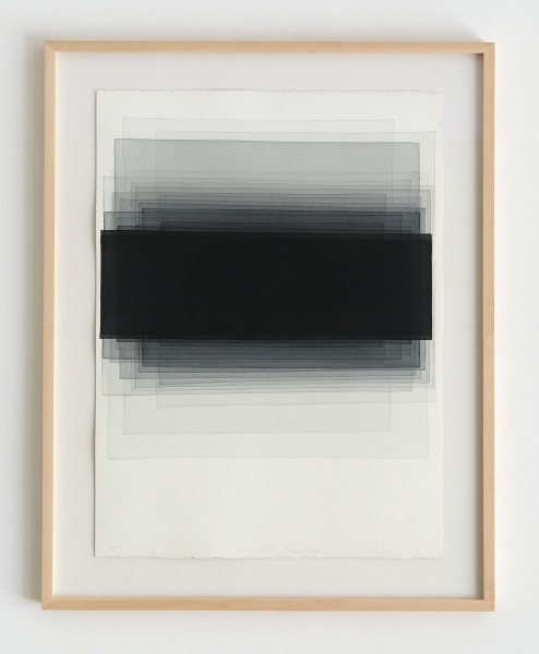 Joachim Bandau #021901 o.T., 10-6-2014 / Q17, 2014 Aquarell auf 'Fabriano Artistico' 76 x 56 cm (Ahorn – Rahmen 90 x 70 cm Mirogard Plus)