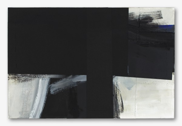 Monika Huber #019406 Black and White, 2003/6, 2003-2006 Oli paper, thread on nettle 60 x 90 cm
