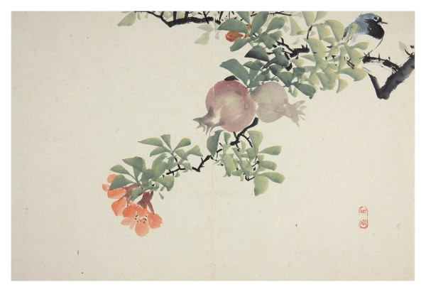 Malerei, #005280 NIWAYAMA KÔEN (1869-1943), Blue bird on pomegranate branch with fruits and flowers, 19th / 20th century