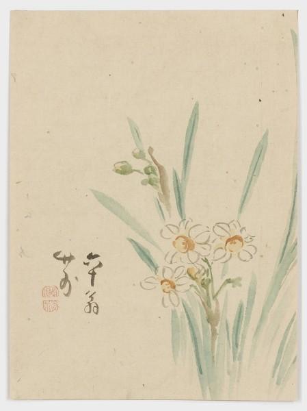 Malerei, #007464 Narzissen (suisen), Japan, Ende Edo (1600-1868), 1862