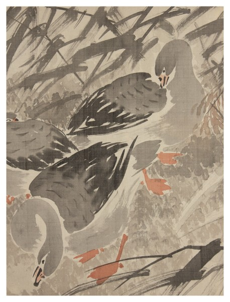 Malerei, #002774 Anonymous artist, Wild geese in the reeds, 19th century