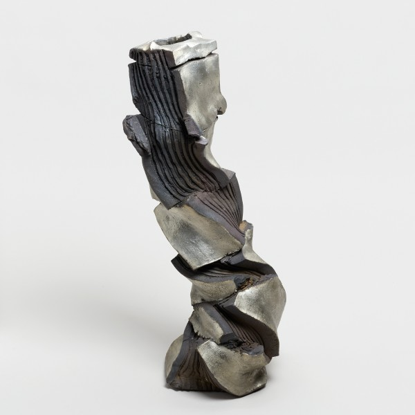 Shozo Michikawa #021849 Sculptural Form, 2018 Stoneware, tanka with silver glaze 54 x 19 cm