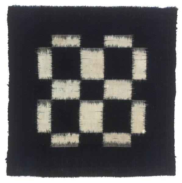 Textilien, #004147 Kasuri, Schachbrettartiges Muster aus weissen Rechtecken